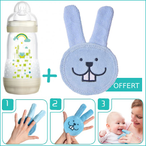 Pack MAM Biberon Easy Start Anti-Colique (+2mois) 260ml + Oral Care Rabbit soin dentaire Offert