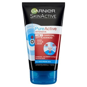 Garnier Skin Active Pure Active 3 en 1 Charbon Anti-points Noirs Incrustés 150 ml