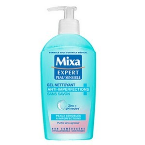 Mixa Expert Peau Sensible Gel Nettoyant Anti-Imperfections San Savon 200ml Réf : 3600550550030