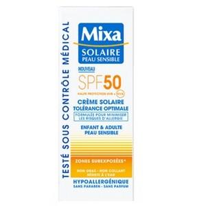 MIXA Solaire Peau Sensible Crème Tolérance Optimale SPF50 75ml  - Réf : 3600550216424