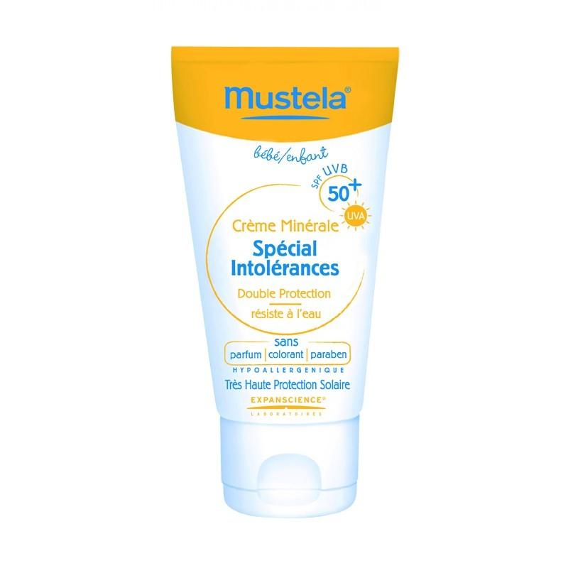Mustela Bébé/Enfant Crème Minérale Spécial Intolérances- Résistance à l'Eau SPF 50+ (50 ml)