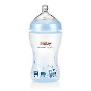 nûby Biberon imprimé teinté bleu clair 330ml tétine débit moyen +3 mois Réf : NT68009