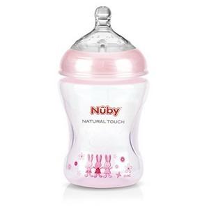 Nûby Biberon imprimé teinté rose clair 240ml tétine débit lent +0 mois Réf : NT68008