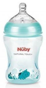 Nûby Biberon imprimé teinté vert clair 330ml tétine débit moyen +3 mois Réf : NT68014