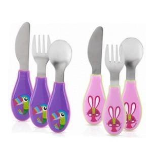 Nûby Set de couverts en acier  (cuillère + fourchette + Couteau ) 2eme age +12 mois Réf : ID5571