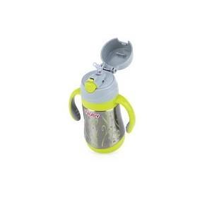 Nûby Thermos imprimé GEO pour produit liquide anti-fuite paille en silicone 360ml Réf : ID10264
