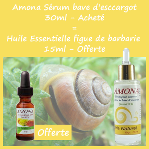Offre Amona Sérum a Base de Bave D'escargot 30ml + Huile Essentielle Figue de Barbarie 15ml Offerte
