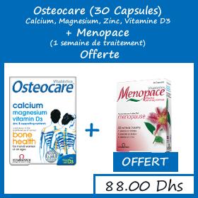 Offre Osteocare Calcium, Magnesium, Zinc, Vitamine D3 (30 Capsules) + Menopace 1 semaine de traitement Offerte