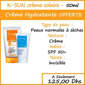 Offre Kaline Ecran Solaire invisible spf50+ (50 ml) + Crème hydratante Offerte
