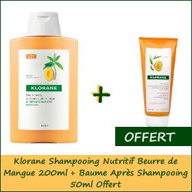 Promotion Klorane Shampooing Nutritif Beurre de Mangue (200 ml) (baume après shampooing 50ml offert)