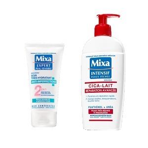 Offre Mixa Soin Très Hydratant Anti-Imperfections 2 en 1 (50ml) + Cica-Lait Réparation Avancée 250ML