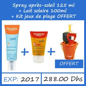 Offre Mustela Lait Solaire 100ml + Spray Après Soleil 125ml + Kit de plage enfant OFFERT