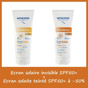 Offre Novaskin Sunderma Ecran Invisible spf50+ (50ml) + Ecran teinté (50ml) à -50%