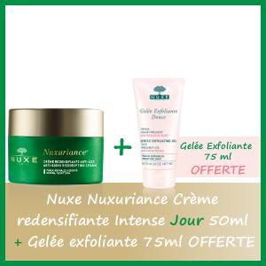 Offre Nuxe Nuxuriance Crème Redensifiante intense Jour 50ml - Nuxe Gelée Exfoliante 75ml OFFERTE