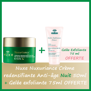 Offre Nuxe Nuxuriance Crème Redensifiante Anti-âge Nuit 50ml - Nuxe Gelée Exfoliante 75ml OFFERTE