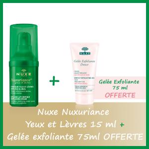 Offre Nuxe Nuxuriance Yeux et Lèvres 15ml - Nuxe Gelée Exfoliante 75ml OFFERTE