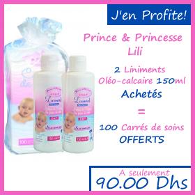 Offre Prince et princesse lili 2 liniment Oléo-calcaire 150 ml + 100 carrées de soins Offerts