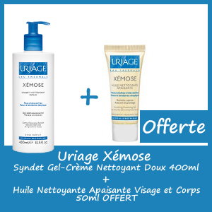 Offre Uriage Xémose Syndet - Gel-Crème Nettoyant Doux 400ml - Huile Nettoyante Apaisante 50ml Offerte