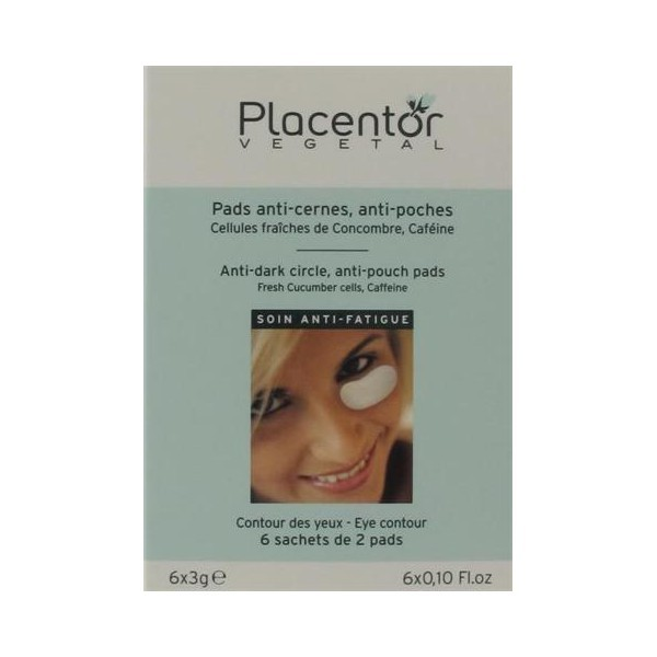 Placentor Vegetal Pads Anti-poches, Anti-rides Contour des Yeux 6 sachets de 2 Pads (6x3g)