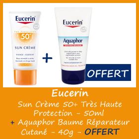 Offre Eucerin Sun Crème Visage SPF 50+ 50 ml + Aquaphor Baume Réparateur 40g OFFERT
