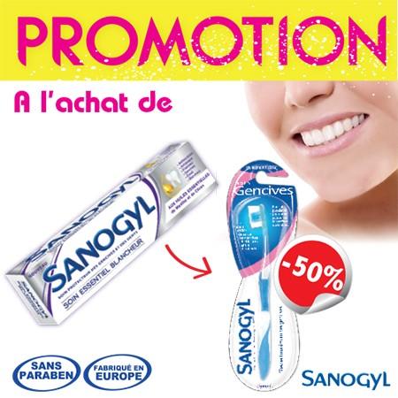 Sanogyl Dentifrice Soin Essentiel Blancheur (tube 75ml) + Brosse à Dents soin Gencives à -50%
