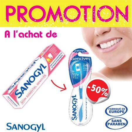 Offre Sanogyl Dentifrice Soin Essentiel Gencive (tube 75ml) + Brosse à Dents soin Gencives à -50%