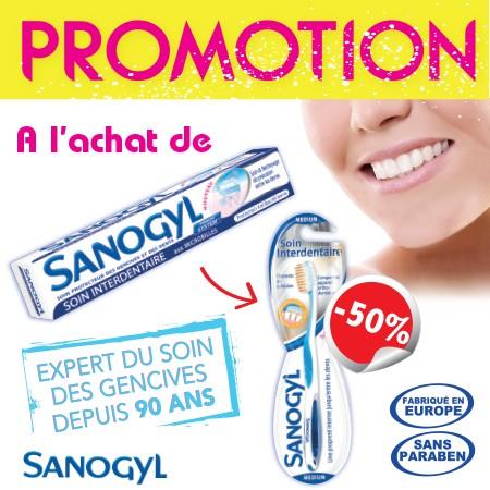 Sanogyl Dentifrice Soin Interdentaire (Tube 75ml) + Brosse A Dents Interdentaire -50%