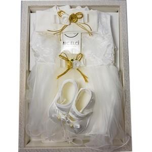 Coffret elci Robe de baptême pour fille 0-3 M
