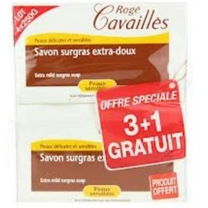 Offre Rogé Cavaillès SAVON SURGRAS EXTRA-DOUX PX SENSIBLES 3X250G+ 1 GRATUIT