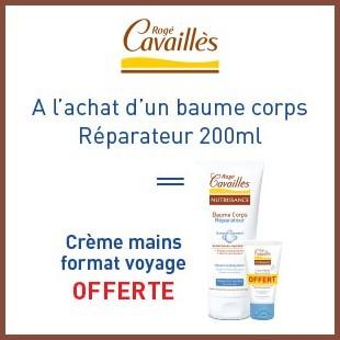 Offre Rogé Cavaillès baume corps 200ml = Crème mains format voyage offerte