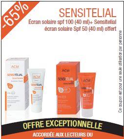 Promotion sensitelial Ecran solaire spf 100 (40 ml)+ Sensitelial écran solaire Spf 50 (40 ml) offert