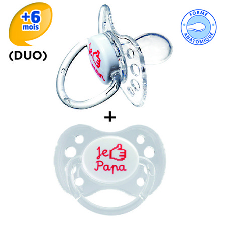 Dodie sucette anatomique silicone +6 duo like papa/Like Maman13a