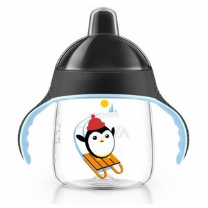 AVENT Tasse pingouin avec anses noir anti-derapante 260 ML 12 MOIS+