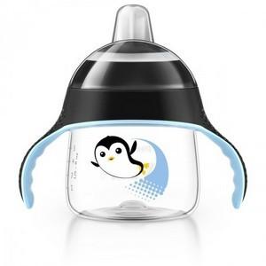 AVENT Tasse pingouin avec anses noir anti-derapante 200 ML 6 MOIS+