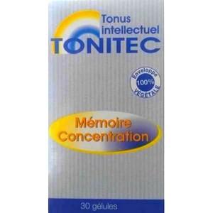 Tonitec Mémoire concentration 30 gélules enveloppe 100% végétale