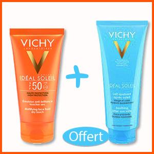 Offre Vichy Ideal Soleil Adultes anti-brillance toucher sec IP50+ (50 ml) + Ideal Soleil Lait Après Soleil (100ml) Offert