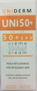 Uniderm uni 50+ Crème Solaire Peaux Intolérantes 50 ml