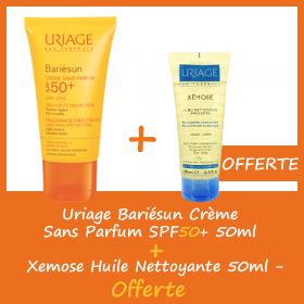 Offre Uriage Bariesun Crème Sans Parfum SPF50+ 50ml - Xémose huile Nettoyante 50ml OFFERTE