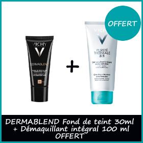 Offre Vichy Dermablend Fond de Teint Correcteur 30ml + Pureté Thermale 3en1 100ml OFFERT