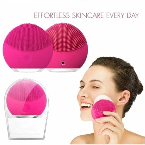 Brosse super-sonique nettoyante 8.000 pulsations pour visage en silicone doux pour tous les types de peau, Rechargeable via câble USB rose