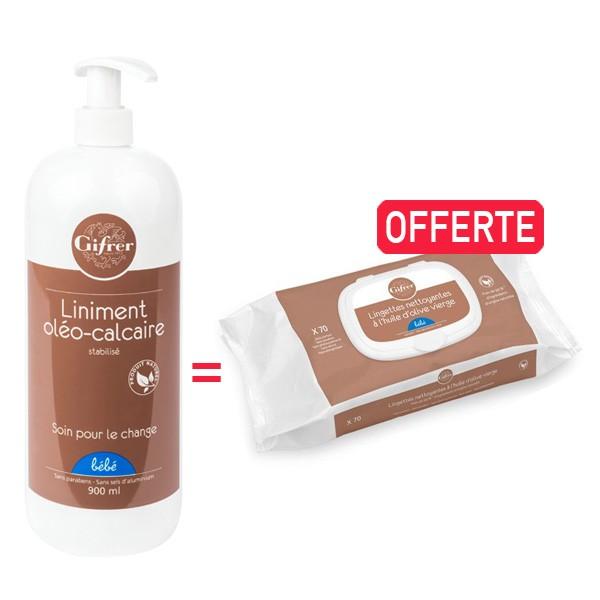 Offre Pack Liniment Oléo-Calcaire Huile Olive 900ml, Pack Lingettes Bébé au Liniment à Huile d'Olive x70 OFFERTE