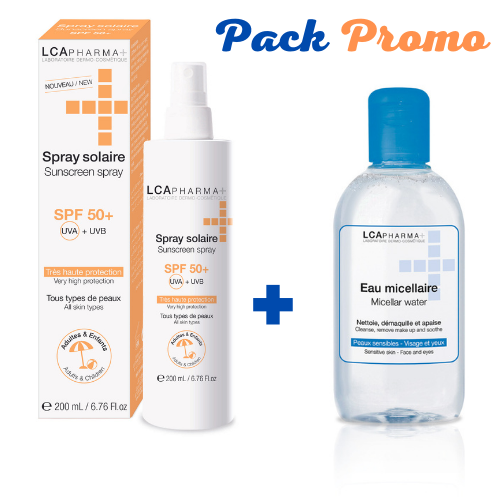 Lca ecran spray solaire spf50+ 200ml+lca eau micellaire 500ml pack