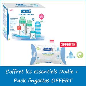 Offre Coffret les essentiels Dodie + Pack lingettes à l'eau biodégradables x70 unités OFFERT