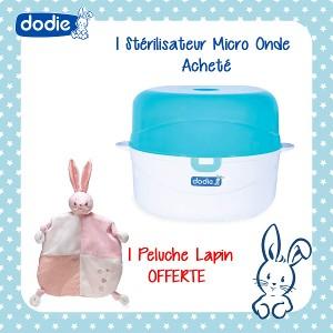 Offre Pack Dodie Stérilisateur Micro-Ondes 2 Minutes À Chaud et à Froid, Doudou Plat Offert