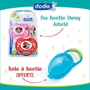 Offre Pack Dodie Sucette Anatomique +18 mois Duo Minnie A66 + Boite à sucette offerte