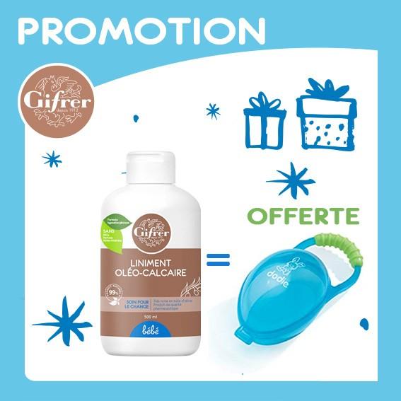 Offre Pack Liniment Oléo-Calcaire Huile Olive 500ml, Dodie Boite à sucette Offerte