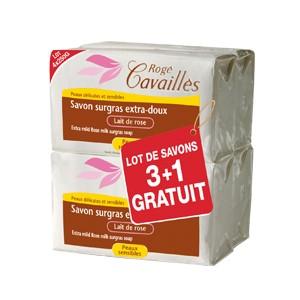 Pack Rogé Cavaillès savon surgras extra-doux lait de rose 250G X3 + 1 OFFERT
