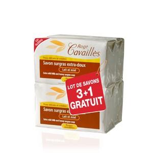 Pack Rogé Cavaillès Savon Surgras Extra-doux Lait et Miel 250G X3 + 1 OFFERT