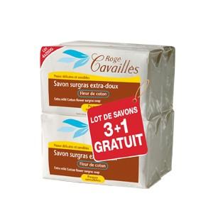 Pack Rogé Cavaillès Savon Surgras Extra-doux Fleur de Coton 250G X3 + 1 OFFERT