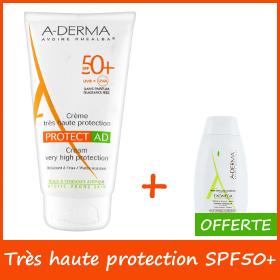 Offre A-Derma Protect AD Crème Très Haute Protection (SPF50+) + Huile Nettoyante Offerte